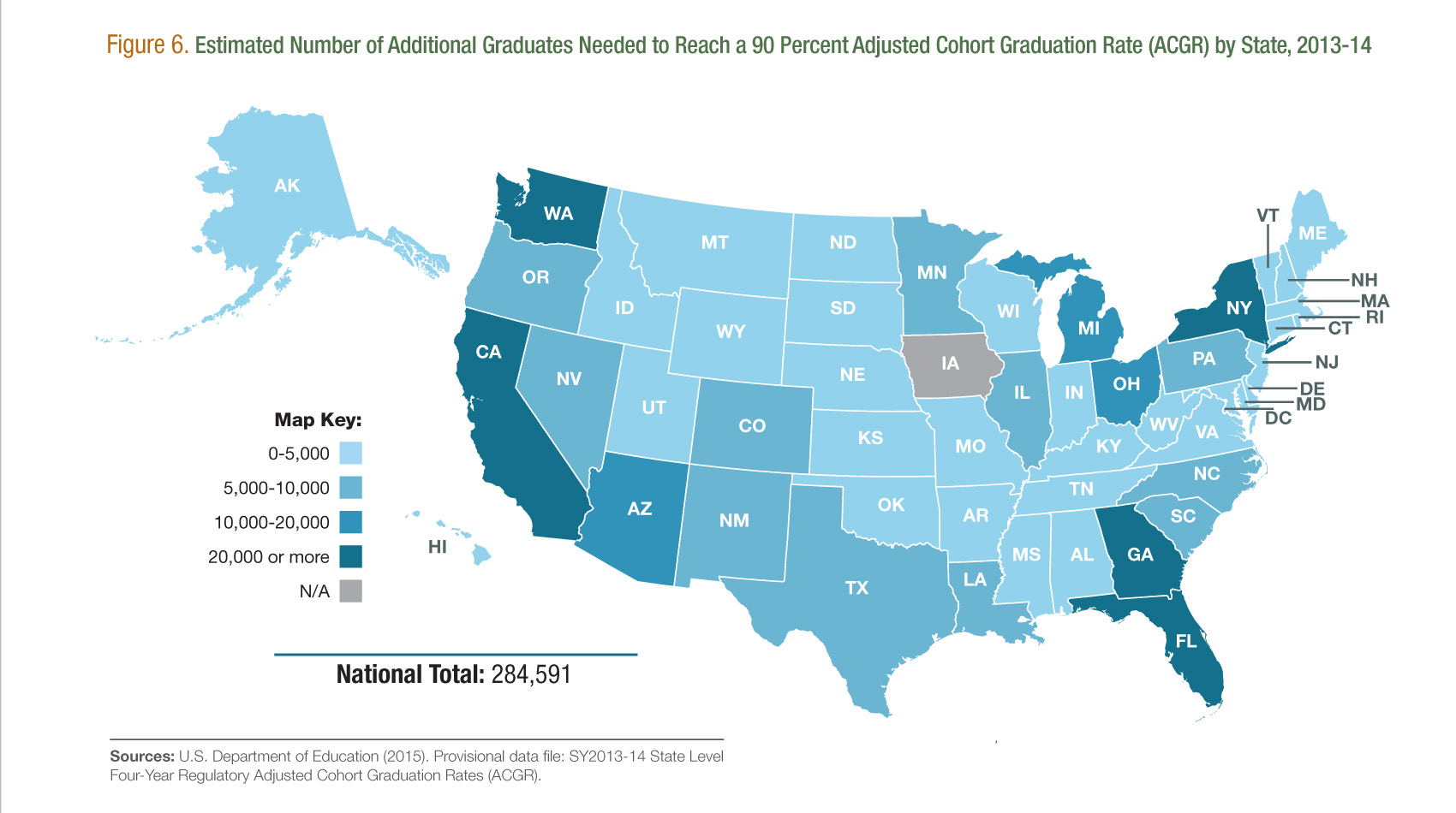 Estimated Number of Additional Graduates Needed to Reach a 90 Percent Graduation Rate (ACGR) by State, 2013-14 [Figure 6]