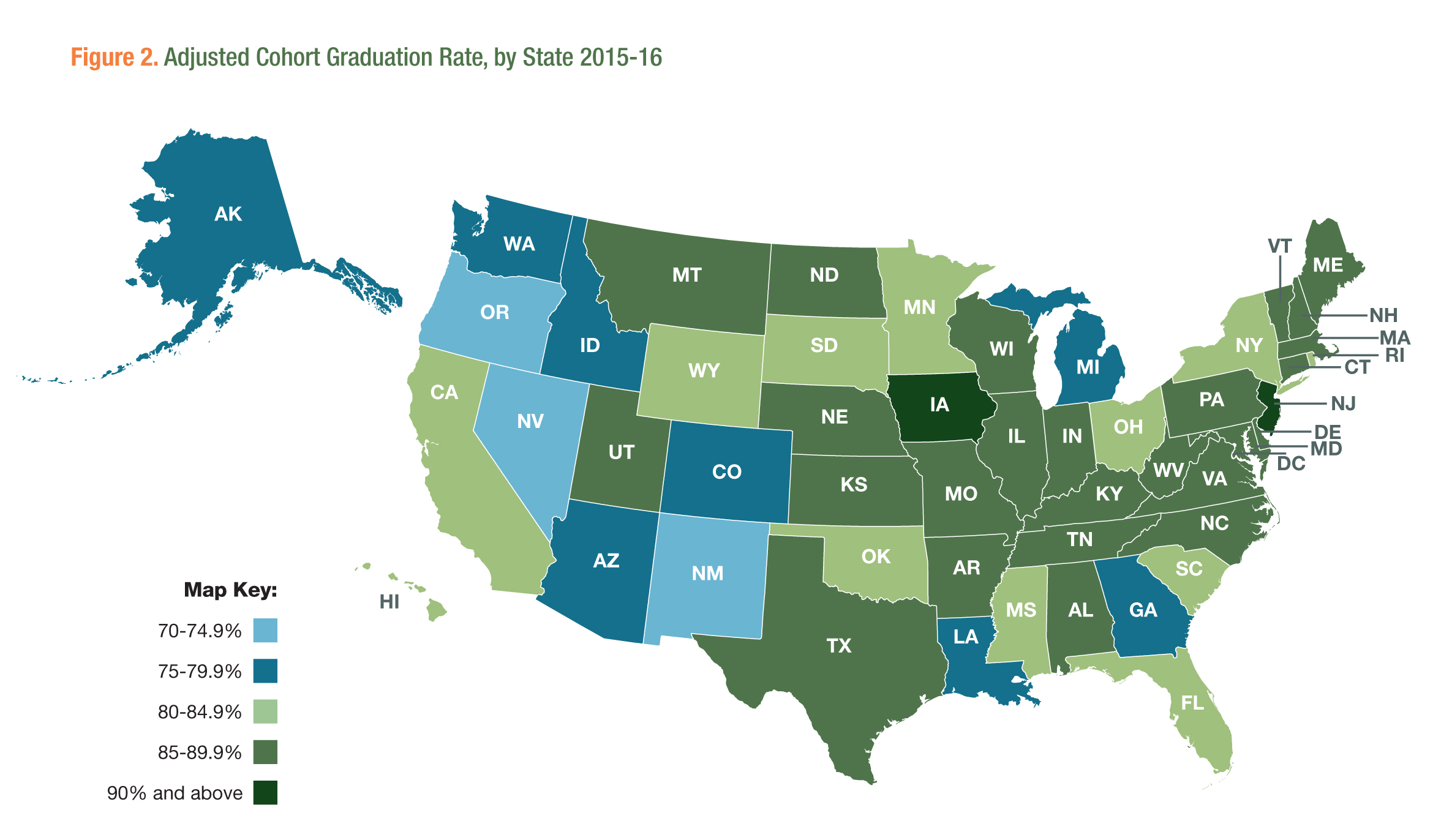Figure 2. Adjusted Cohort Graduation Rate by State 2015-16
